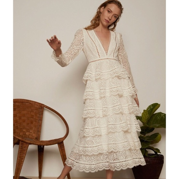 Zimmermann Dresses Bayou Tiered Swirl Long Dress Size 2